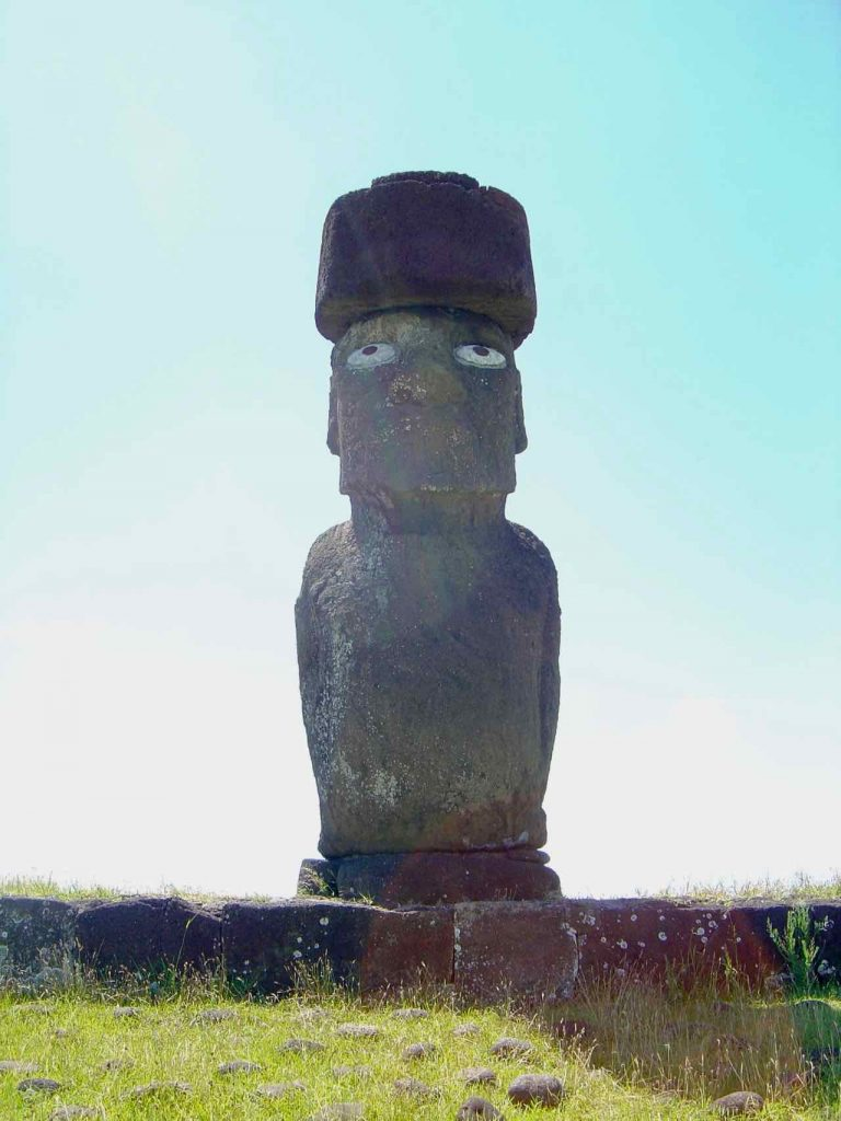 Easter island Moia with eyes and topknot at Ahy Akapu