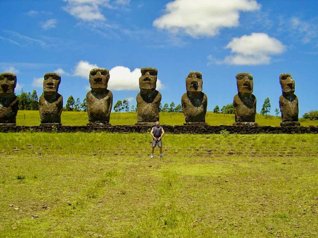 Me and Easter Island statues