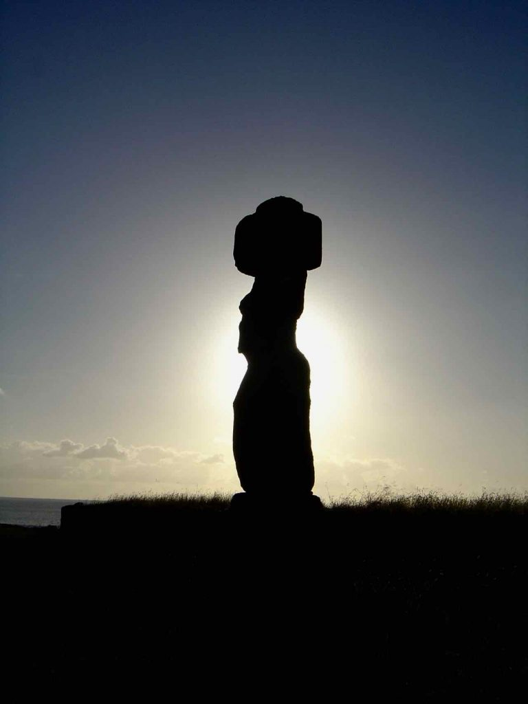 Moai at sunset
