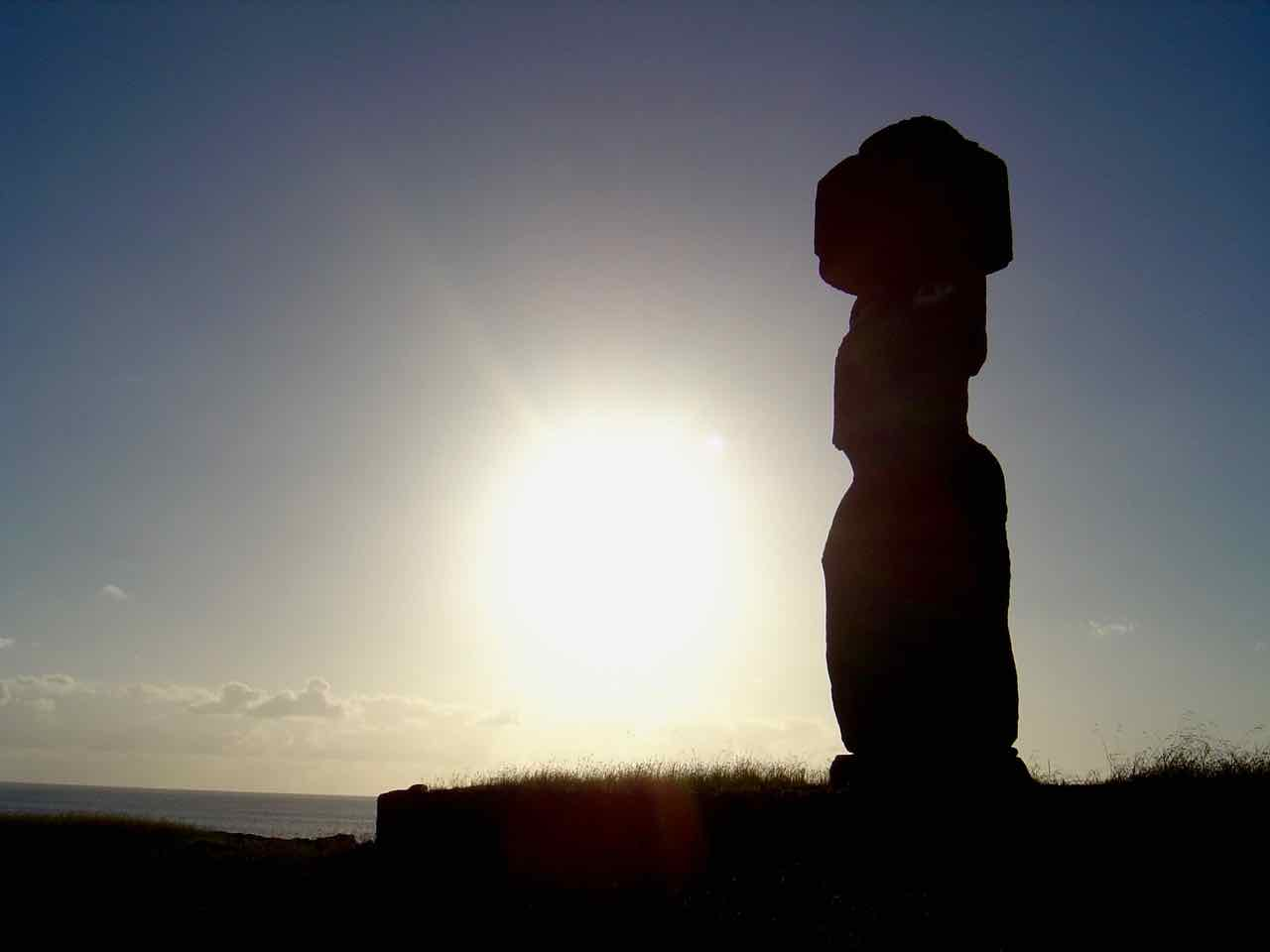 Moai with topknot at sunset