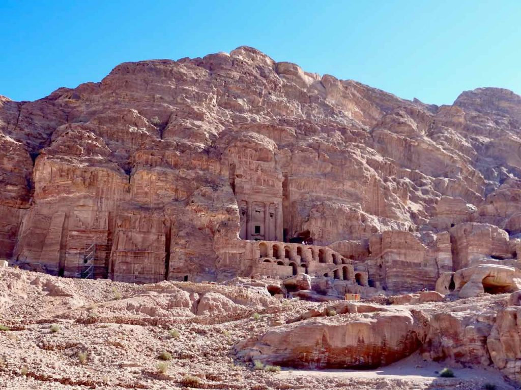 Stunning carved buildings in ancient city of Petra