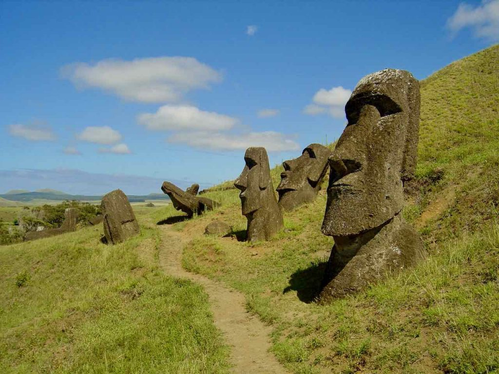 Easter Island heads at Rano Raraku