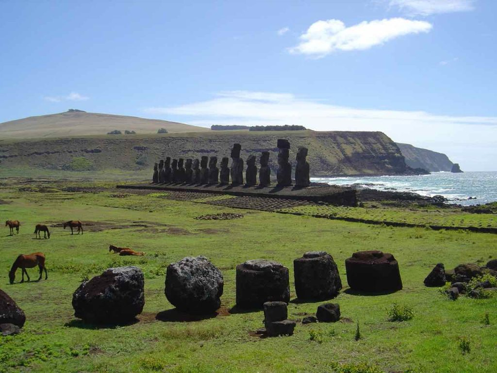 Easter Island statues and their topknots