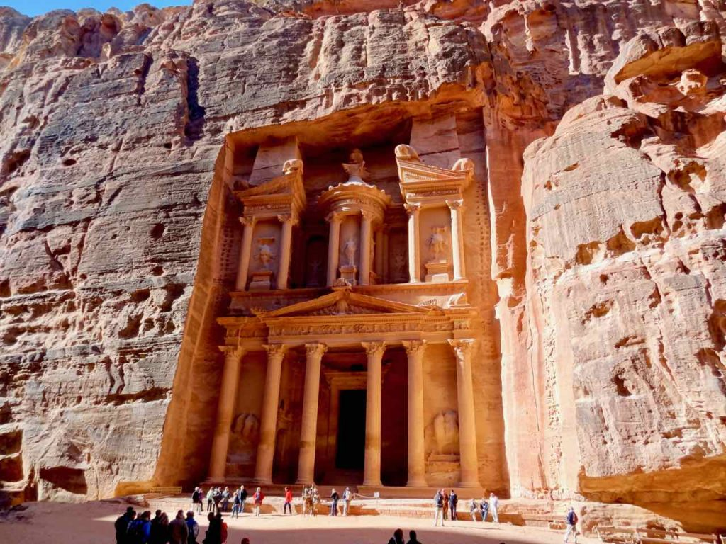 Treasury building inside Petra in Jordan